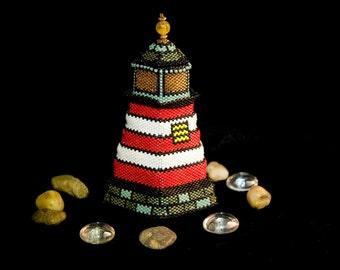 SALE!! Lighthouse Beaded Box Sculpture, OOAK