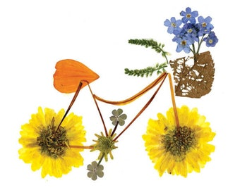 Pressed flower art of a bicycle - FLOWER PEDALS - Botanical art bike, notecard created from flowers and leaves, Garden card, Floral card