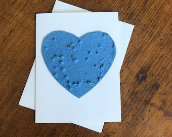 Sympathy card - Plantable paper heart greeting card - Made with Chinese Forget-Me-Not seeds - Funeral, memorial, Pet sympathy