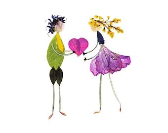 BE MINE - Valentine's Day card, Pressed flower art, Botanical art, Garden notecard, Greeting card for love, anniversary, engagement, wedding