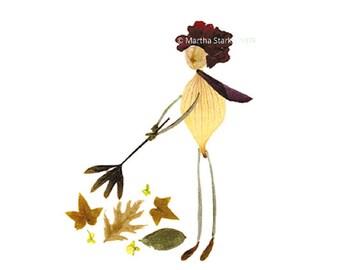 SALE -  10 cards for 10 bucks - RAKE - Pressed flower art, Autumn, Notecard of a person raking leaves, Botanical art