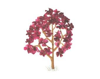 TREE - Pressed flower art, Botanical Greeting card, Autumn tree or spring flowering tree - Oshibana - For a gardener, nature lover - Leaves
