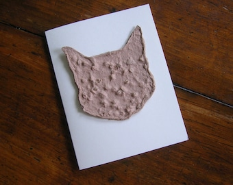 Cat sympathy card, Vet sympathy - Made from plantable seed paper and Chinese Forget-Me-Not seeds - Feline greeting card card