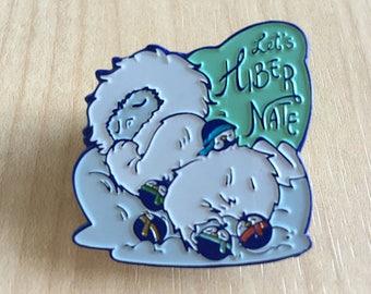 "Baby Yeti & Pygmy Penguins ""Let's Hibernate"" - Enamel Pin (Special Blue Plating)"