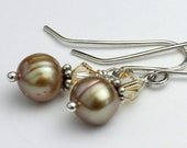 Freshwater Pearl Earrings in a Soft Champagne Color with Luminous Green Iridescence, Sterling Silver Dangle Earrings, Swarovski Crystal