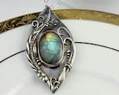 Labradorite Necklace Silver, Silver Floral Pendant Handmade, Nature Lover Jewelry, Nature Inspired, Mothers Day Gift, 21st Birthday Gift