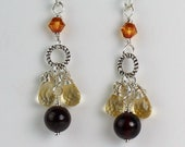 Citrine and Garnet Gemstone Earrings, Sterling Silver Earwires, Chandelier Style, Memorable 21st Birthday Gift, Mother's Day