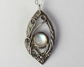 Rainbow Moonstone Pendant, Silver Jewelry Handmade, Nature Inspired, 21st Birthday Gift for Her, Class of 2019, Nana Necklace