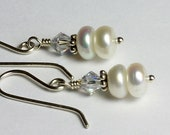 Freshwater Pearl Earrings, White Button Pearls, Swarovski Crystal, Silver Dangle and Drop, Handmade Earrings, Memorable Gift, Mother's Day