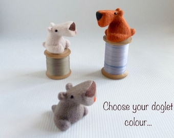 Needle felt workshop, 'DOGLET' Zoom class and kit, date/time to suit, two and a half  to three hour one-to-one tutorial session