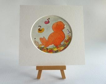 Original small watercolour, 'Stormy Morning', red squirrel art, autumn art, fall art, mini painting, woodland art, autumn, small wall art,