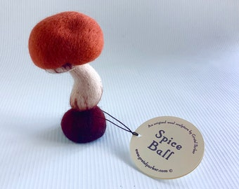 Needle felted toadstool, 'Spice Ball' by Gretel Parker