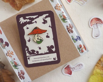 1x hard enamel Autumn Toadstool pin badge designed by Gretel Parker, toadstool brooch, toadstool pin, artist enamel pin, designer enamel pin