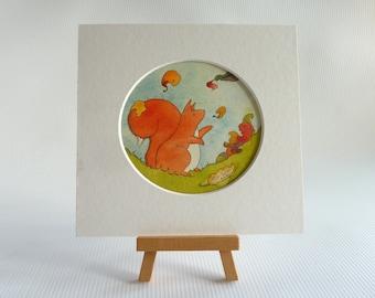Original small watercolour, 'The First Leaves', red squirrel art, autumn art, fall art, mini painting, woodland art, autumn, small wall art,