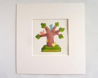 Limited edition watercolour 'The Three Graces', four available, imaginary Staffordshire pottery design, small artwork in mount,