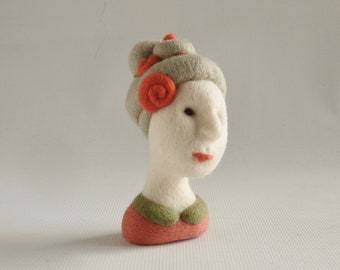 Miniature needle felted mannequin head, 'Rosa' by Gretel Parker, Versailles style bibelot