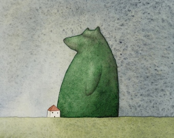 Original small watercolour, 'Bear House', with bevel cut mount