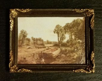 Constable framed painting Boat Building - for 1:12 dollhouse