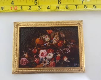 Daprait framed painting Still life - for 1:12 dollhouse