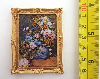 Renoir framed painting Spring bouquet - for 1:12 dollhouse