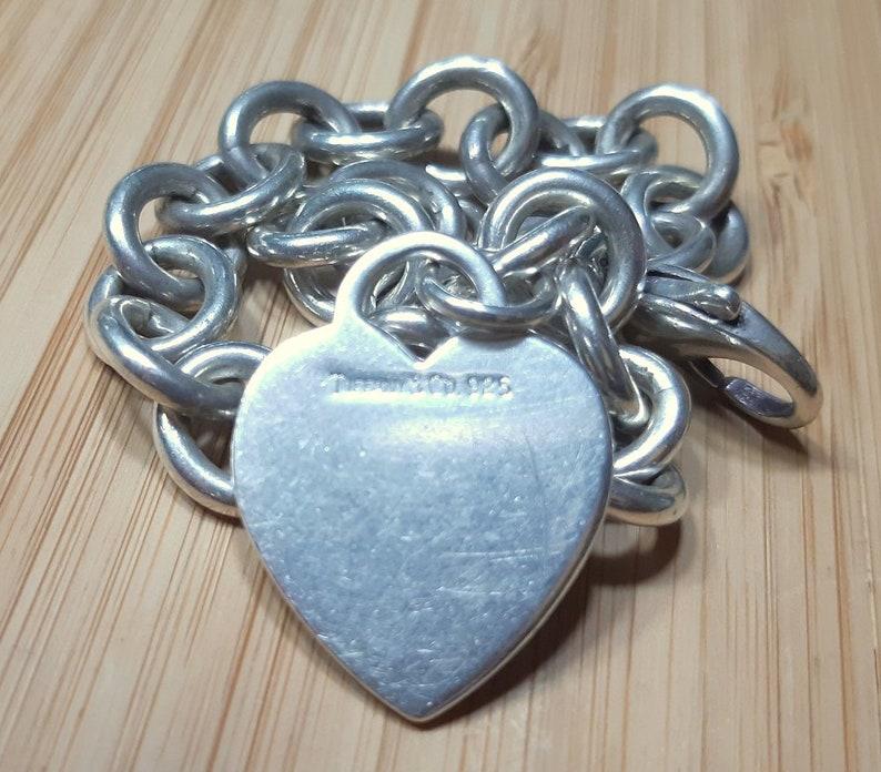 797120993 TIFFANY Heart Charm Bracelet .925 Sterling Silver Authentic | Etsy