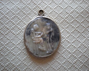 Vintage Sterling Silver Pendant.Stamped 925 Silver,Resin Pendant,Greek Pendant With Bail,Jewelry Making,Rare and Unique,From Greece,Keepsake