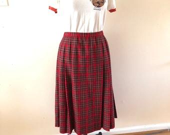 Vintage Pendleton Skirt Sz 18 Red and Navy Blue Plaid