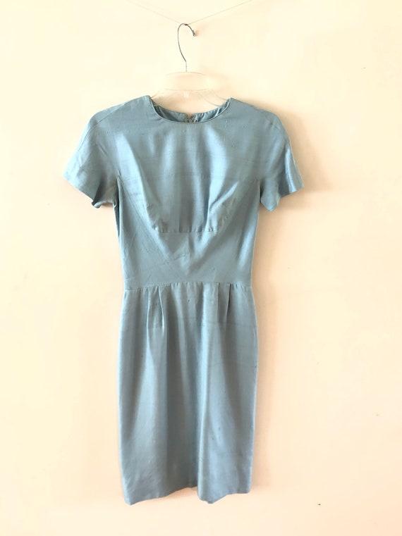 Blue Silk Dress Vintage 1950s Tabak of California