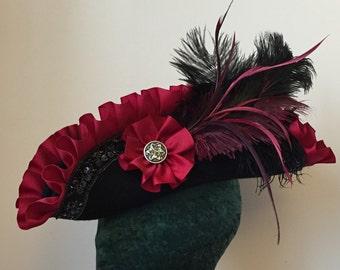 PIRATE HAT Black Crimson Red Unique Gothic Romantic Tricorn Custom Order or Gift Certificate