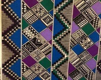 Geometric Pattern Fabric Blue Purple block print 3 yards x 60 inches