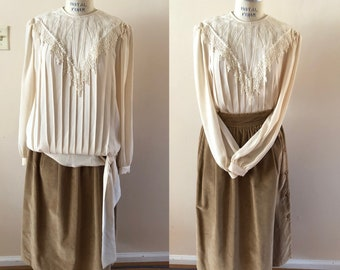 Cream and Lace Pleated Blouse Edwardian style 1990s Sz 12