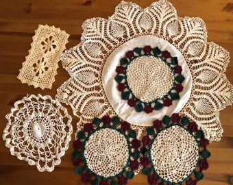 Crocheted Doilies Set of 6 Vintage for upcyling or repurposing