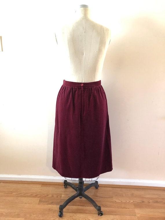 Wine Velvet Midi Skirt Vintage 1980s Chaus