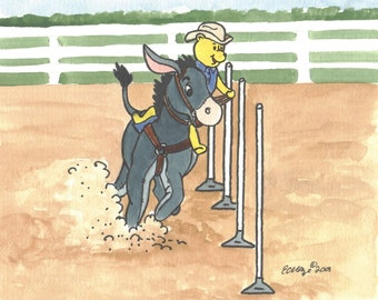POOH and EEYORE Pole-Bending Horse show ORIGINAL Painting