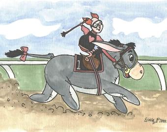 PIGLET and EEYORE Horse racing ORIGINAL Painting