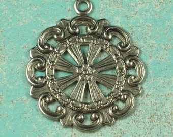 6 Antique Silver Brass Filigree Pendent Drop Jewelry Findings 342
