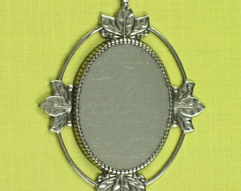 6 Antique Silver Cameo Setting 25x18 Jewel Findings 176