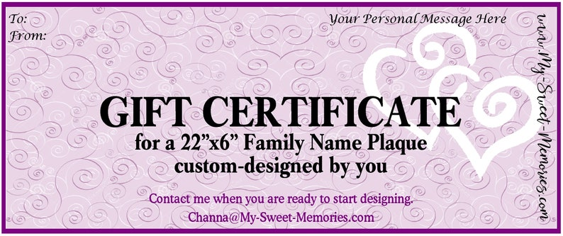 GIFT CERTIFICATE for a 22x6 Plaque  includes shipping cost image 0