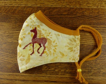 Horse Embroidered on a Washable, 3 layer face mask w Stretchy nose band to help eliminate fogging of glasses w Filter pocket / Made in USA