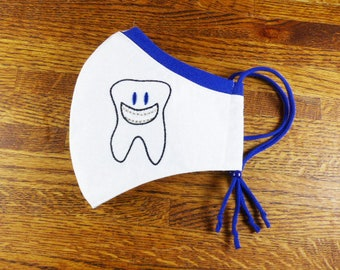 Orthodontist Tooth Embroidered on Washable 3 layer face mask w Stretchy nose band to help eliminate fogging of glasses w Filter pocket