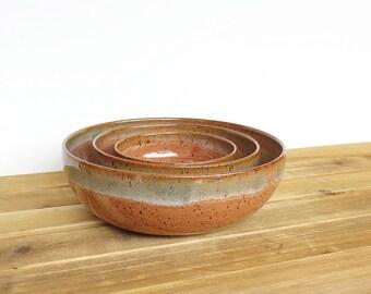 Stoneware Pottery Nesting Bowls in  Shino and Sea Mist Glazes, Ceramic Stoneware, Rustic Speckled Kitchen Bowls - Set of 3, Southwest Decor