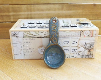 Ceramic Spoon, Stoneware Clay Scoop, Rustic Kitchen Pottery Utensil, Sea Mist Glaze