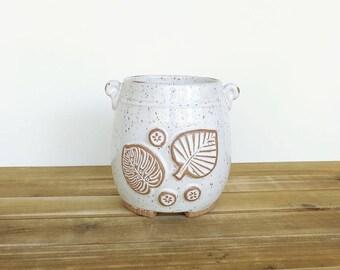 Stoneware Utensil Holder in Glossy White Glaze, Rustic Speckled, Kitchen, Handmade Pottery