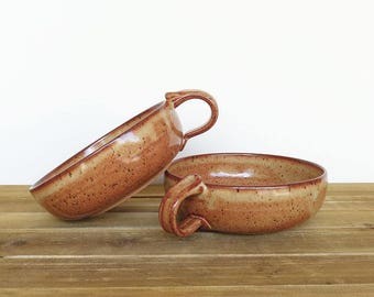 Stoneware Bowls with One Handle in Shino Glaze - Set of 2, Rustic Ceramic Pottery Bowls, Kitchen Bowl Set
