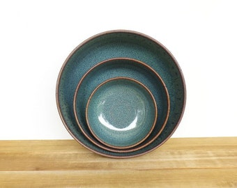 Ceramic Nesting Pottery Bowl Set in Sea Mist Glaze, Rustic Kitchen, Green Blue, Ceramic Bowls, Stoneware Serving Bowls - Set of Three