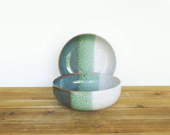 Ceramic Stoneware Pasta Bowls in Sea Mist and White Glazes, Rustic Kitchen, Stoneware Pottery Bowls - Set of 2