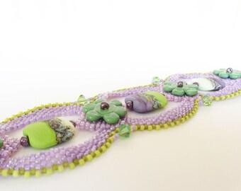Lavender and Lime Beadweaving Bracelet