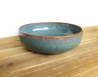 Stoneware Pottery Pasta Bowl in Sea Mist Glaze, Rustic Kitchen, Ceramic Bowl, Single Pasta Bowl, Teal Pottery Bowl