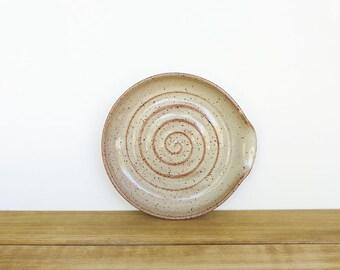Stoneware Spoon Rest in Light Shino Glaze, Rustic Ceramic, Kitchen Pottery