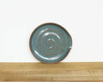 Spoon Rest Stoneware Ceramic in Sea Mist Glaze, Kitchen Pottery, Rustic Ceramic